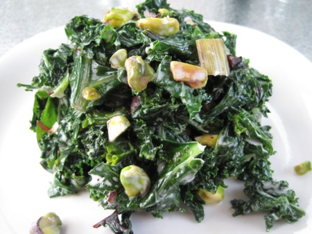 Sauteed Greens with Coconut Milk & Pistachios