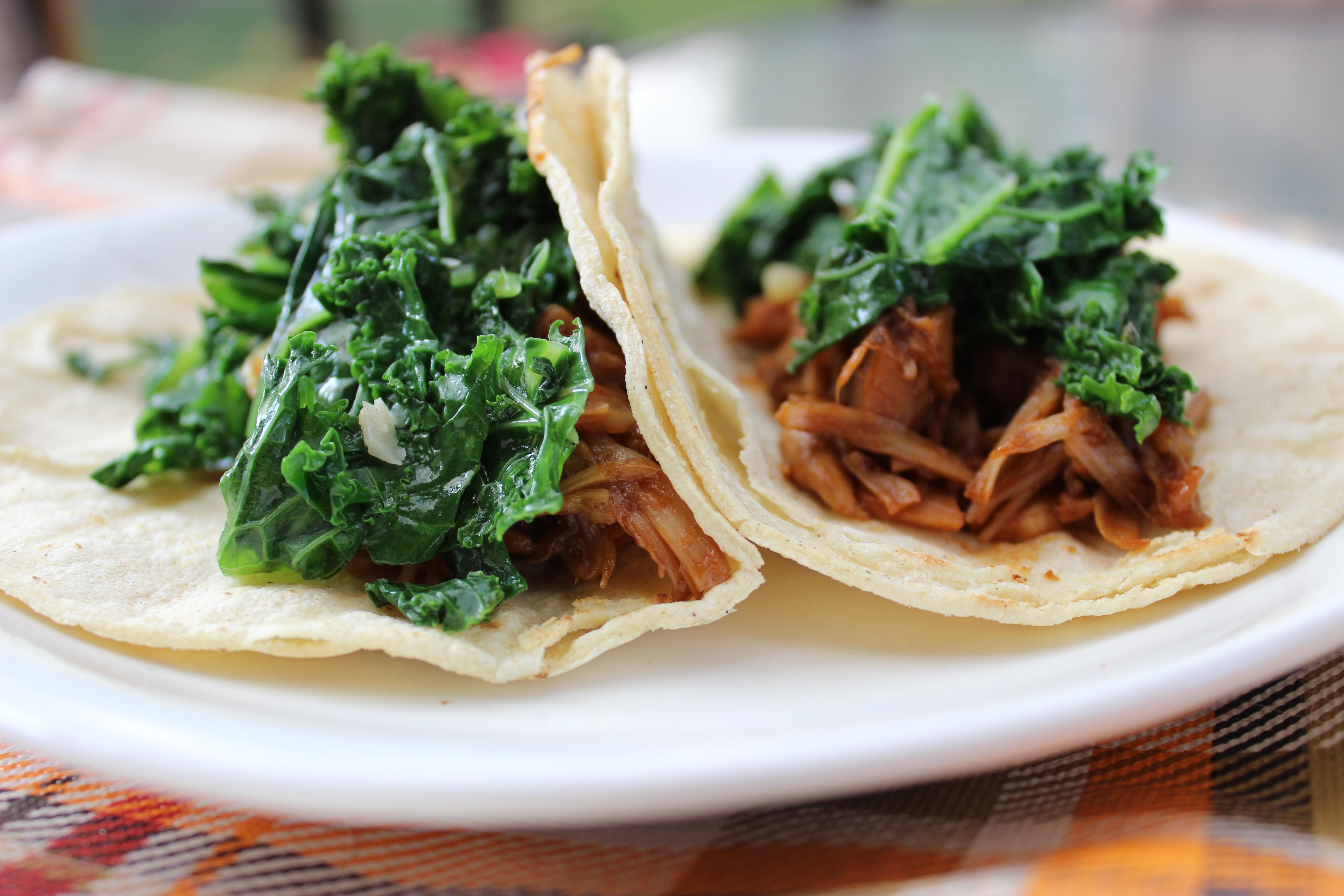 BBQ Pulled Jackfruit & Kale Tacos
