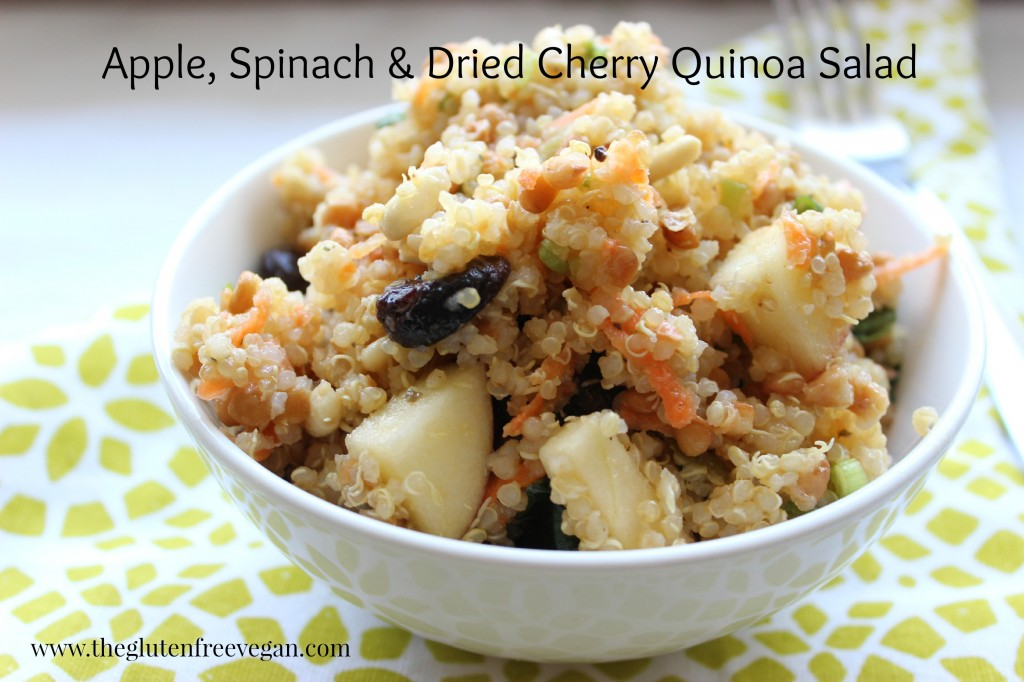 Apple, Spinach & Dried Cherry Quinoa Salad | The Gluten Free Vegan